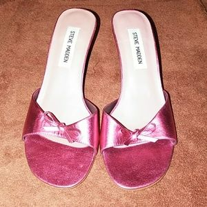 Metallic pink leather Steve Madden shoes